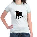 Pug Silhouette Jr. Ringer T-Shirt
