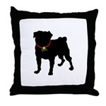 Pug Silhouette Throw Pillow