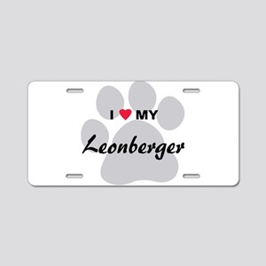 I Love My Leonberger Aluminum License Plate