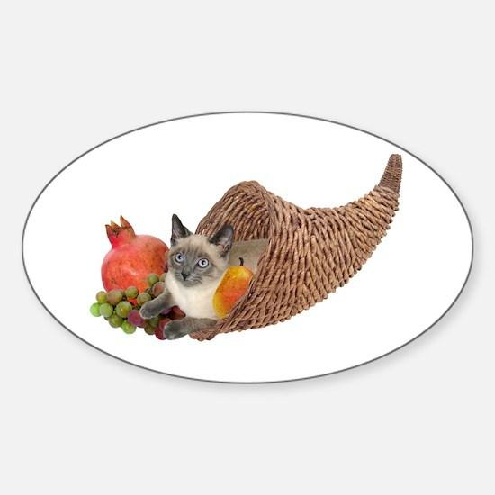 Cat in Cornucopia Sticker (Oval)