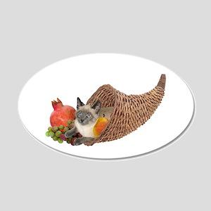 Cat in Cornucopia 22x14 Oval Wall Peel