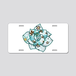 Blue Pattern Flower Aluminum License Plate