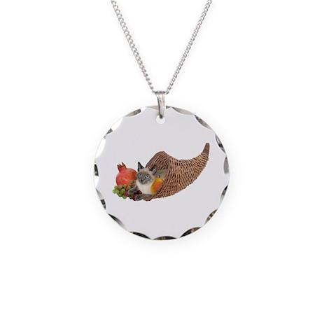 Cat in Cornucopia Necklace Circle Charm