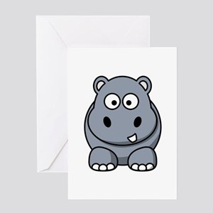 Cartoon Hippopotamus Greeting Card