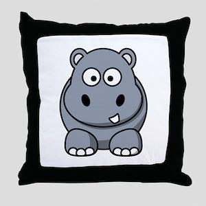 Cartoon Hippopotamus Throw Pillow