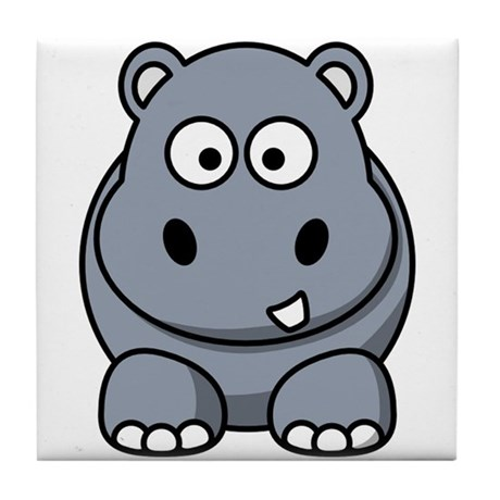 Cartoon Hippopotamus Tile Coaster