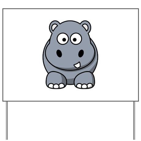 Cartoon Hippopotamus Yard Sign