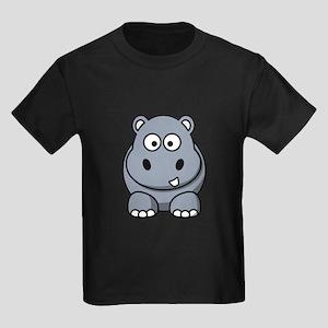 Cartoon Hippopotamus Kids Dark T-Shirt