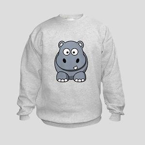 Cartoon Hippopotamus Kids Sweatshirt