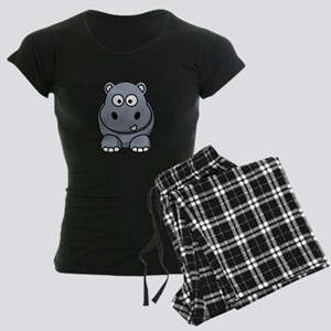 Cartoon Hippopotamus Women's Dark Pajamas