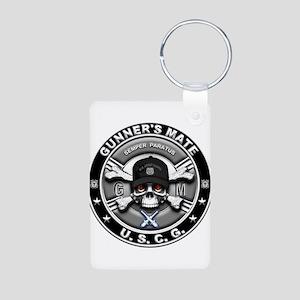 USCG Gunners Mate Skull GM Aluminum Photo Keychain