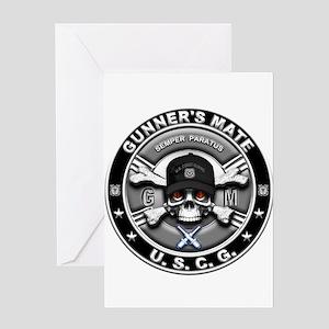 USCG Gunners Mate Skull GM Greeting Card