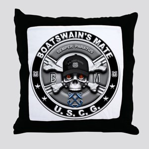 USCG Boatswains Mate Skull BM Throw Pillow