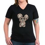 Stuffed Beary Women's V-Neck Dark T-Shirt