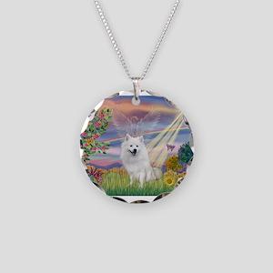 Cloud Angel / Eskimo Necklace Circle Charm