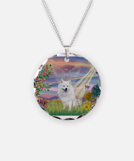 Cloud Angel / Eskimo Necklace Circle Charm