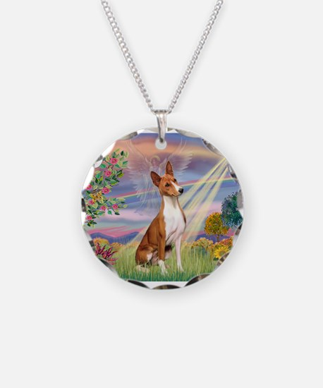 Cloud Angel & Basenji Necklace