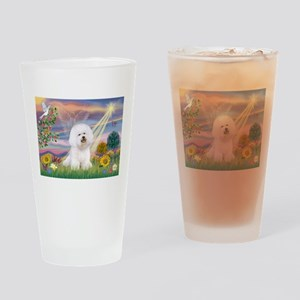 Cloud Angel & Bichon Drinking Glass