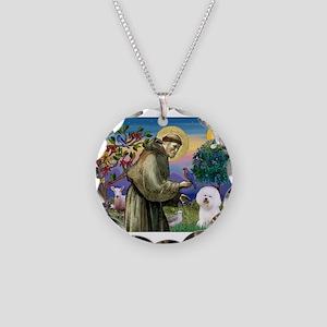 St Francis / Bichon Frise Necklace Circle Charm