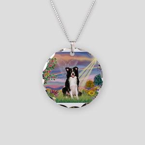 Cloud Angel /Border Collie Necklace Circle Charm