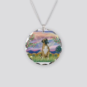 Cloud Angel & Boxer Necklace Circle Charm
