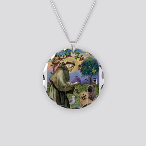 St Francis / Cairn Terrier Necklace Circle Charm