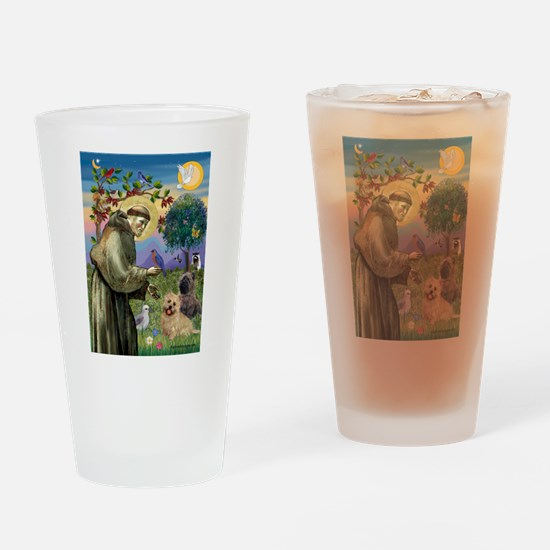 St Francis / Cairn Terrier Drinking Glass
