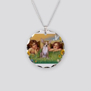Angels and Chihuahua Necklace Circle Charm
