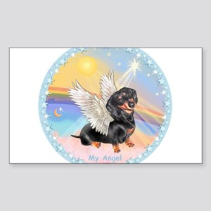 Clouds/Dachshund Angel Sticker (Rectangle)