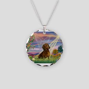 Cloud Angel /Dachshund (brn s Necklace Circle Char