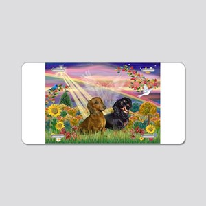 Autumn Angel / Dachshund pair Aluminum License Pla