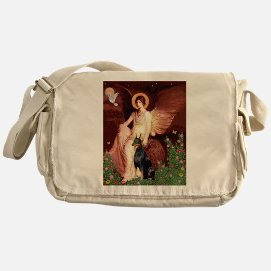 Seated Angel & Dobie Messenger Bag
