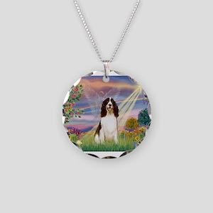 Cloud Angel & Springer Necklace Circle Charm