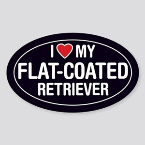 I Love My Flat-Coated Retriever Oval Sticker/Decal