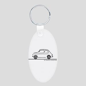 Fiat 500 Cinquecento Aluminum Oval Keychain