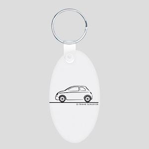 New Fiat 500 Cinquecento Aluminum Oval Keychain
