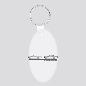 Two 1957 Ford Thunderbird Aluminum Oval Keychain