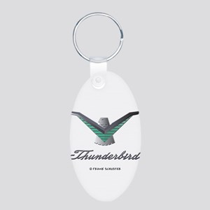 T Bird Emblem with Script Aluminum Oval Keychain