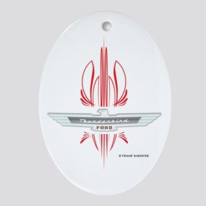 T Bird Emblem with Pinstripes Ornament (Oval)