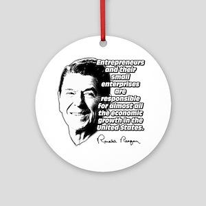 Reagan Quote Small Business Ornament (Round)
