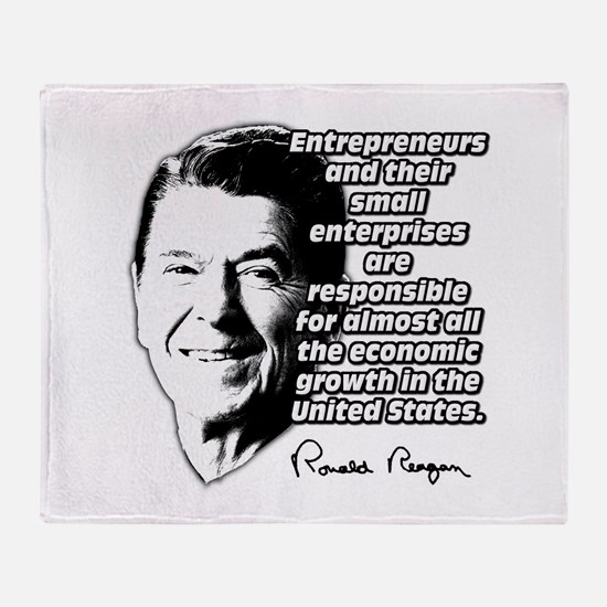 Reagan Quote Small Business Throw Blanket