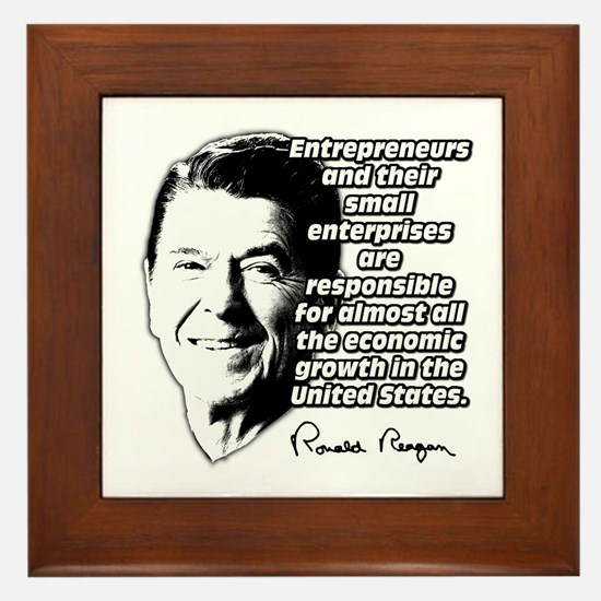 Reagan Quote Small Business Framed Tile