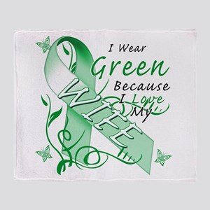 I Wear Green I Love My Wife Throw Blanket