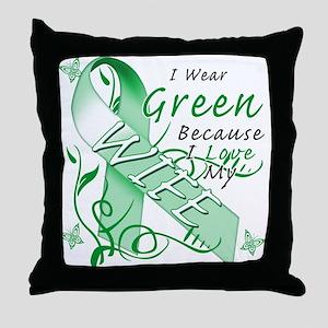 I Wear Green I Love My Wife Throw Pillow