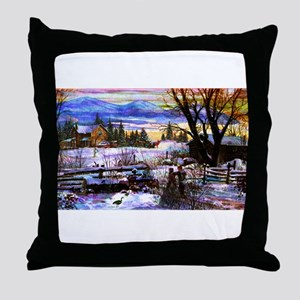 Winter Walk Home Throw Pillow