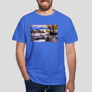 Winter Walk Home Dark T-Shirt