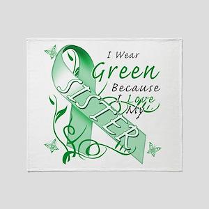 I Wear Green I Love My Sister Throw Blanket
