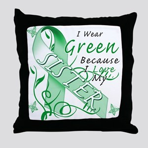 I Wear Green I Love My Sister Throw Pillow
