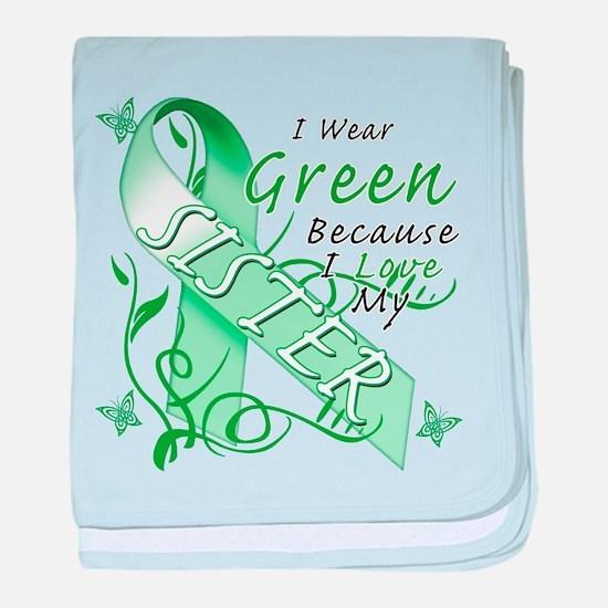 I Wear Green I Love My Sister baby blanket