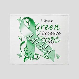 I Wear Green I Love My Mom Throw Blanket